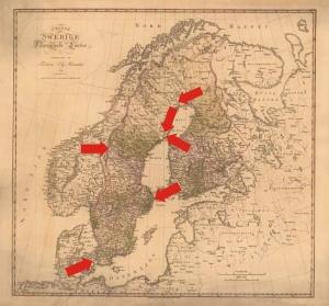 Sverige ansätts från flera håll. Generalkarta Krigsarkivet